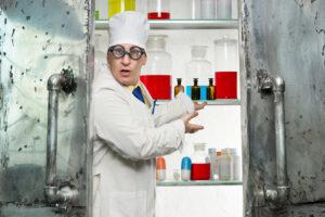 Crazy chemist opens the door to the lab