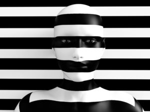 3D rendering of a womans face trying to blend in with the black and white striped background, afraid to show her true colours. She is standing with her head against the wall and hiding like a wallflower.