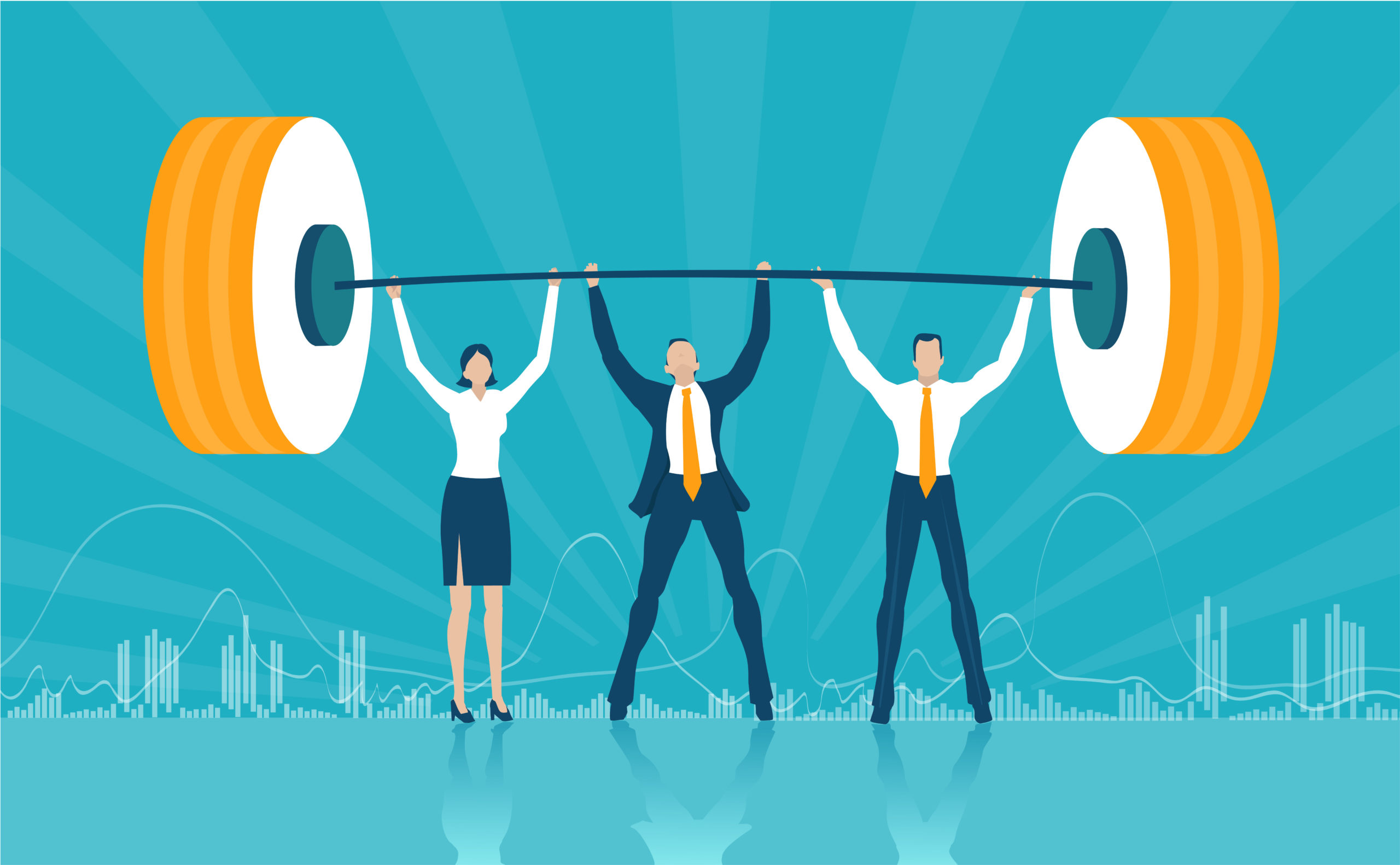 Business people holding the weight up. Working together, support and delivery support idea.