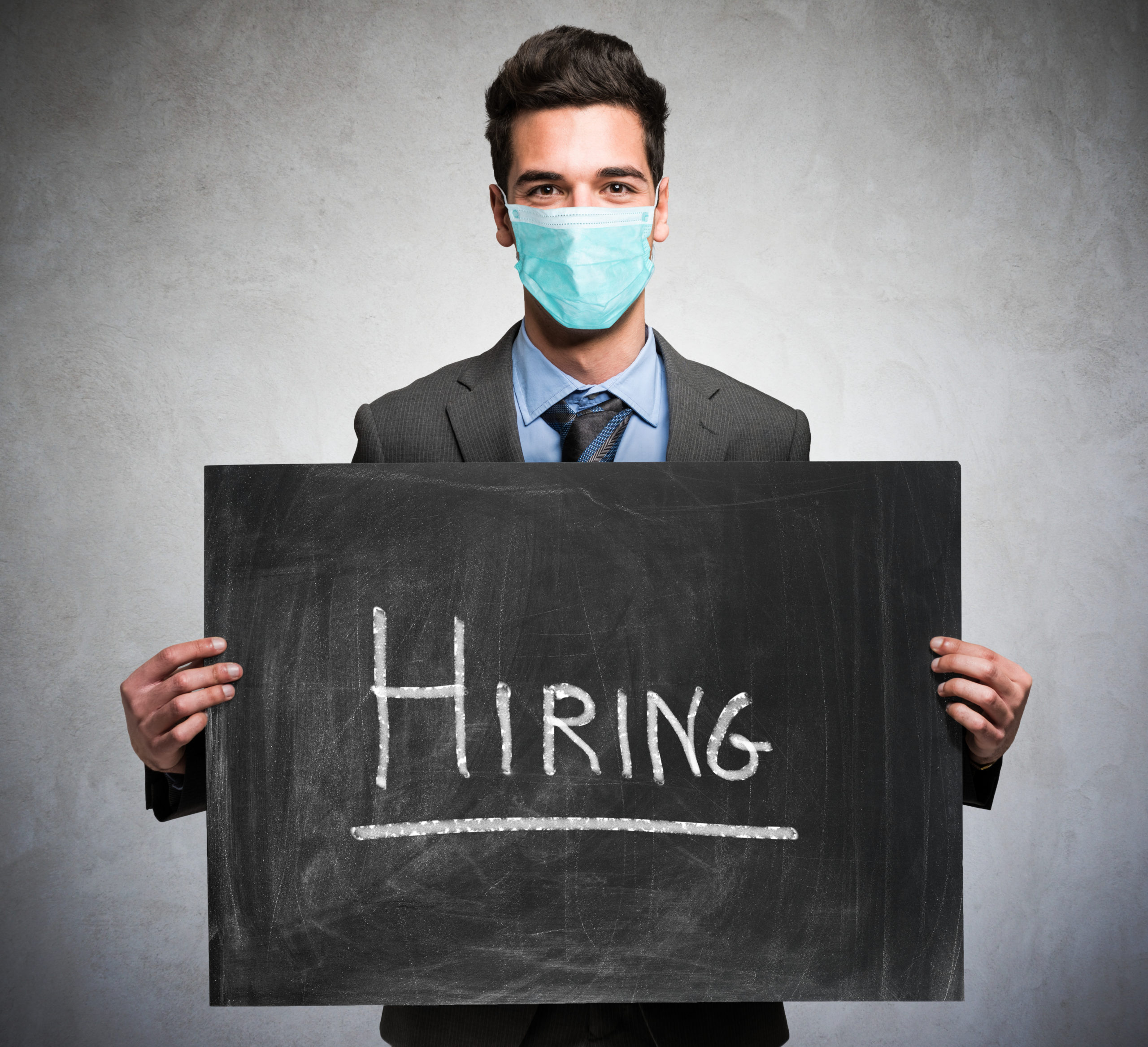 Business concept, businessman hiring people duting coronavirus pandemic