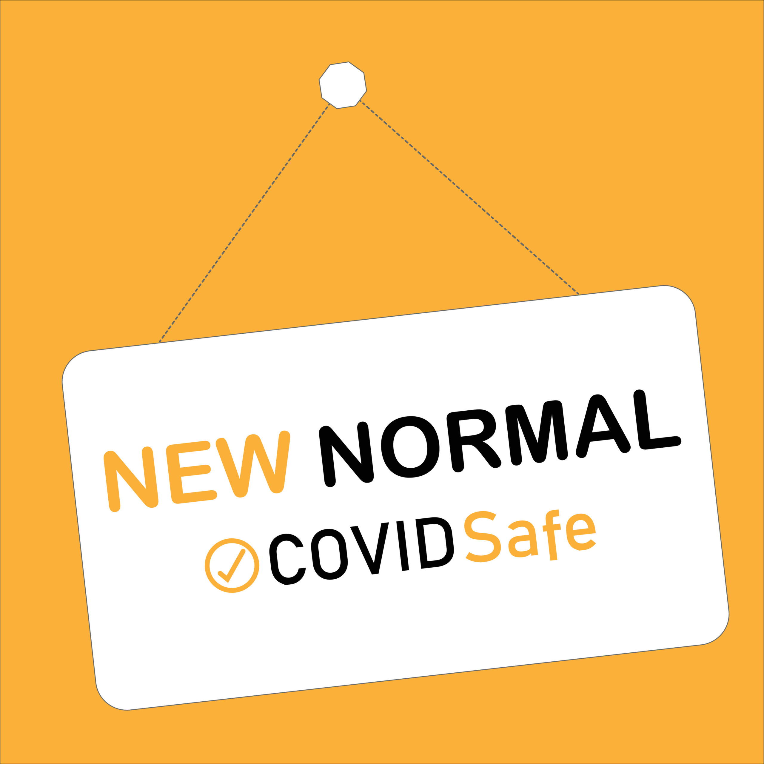NEW NORMAL, COVID safe hanging sign, disruptive innovation way of post covid-19 coronavirus pandemic concept