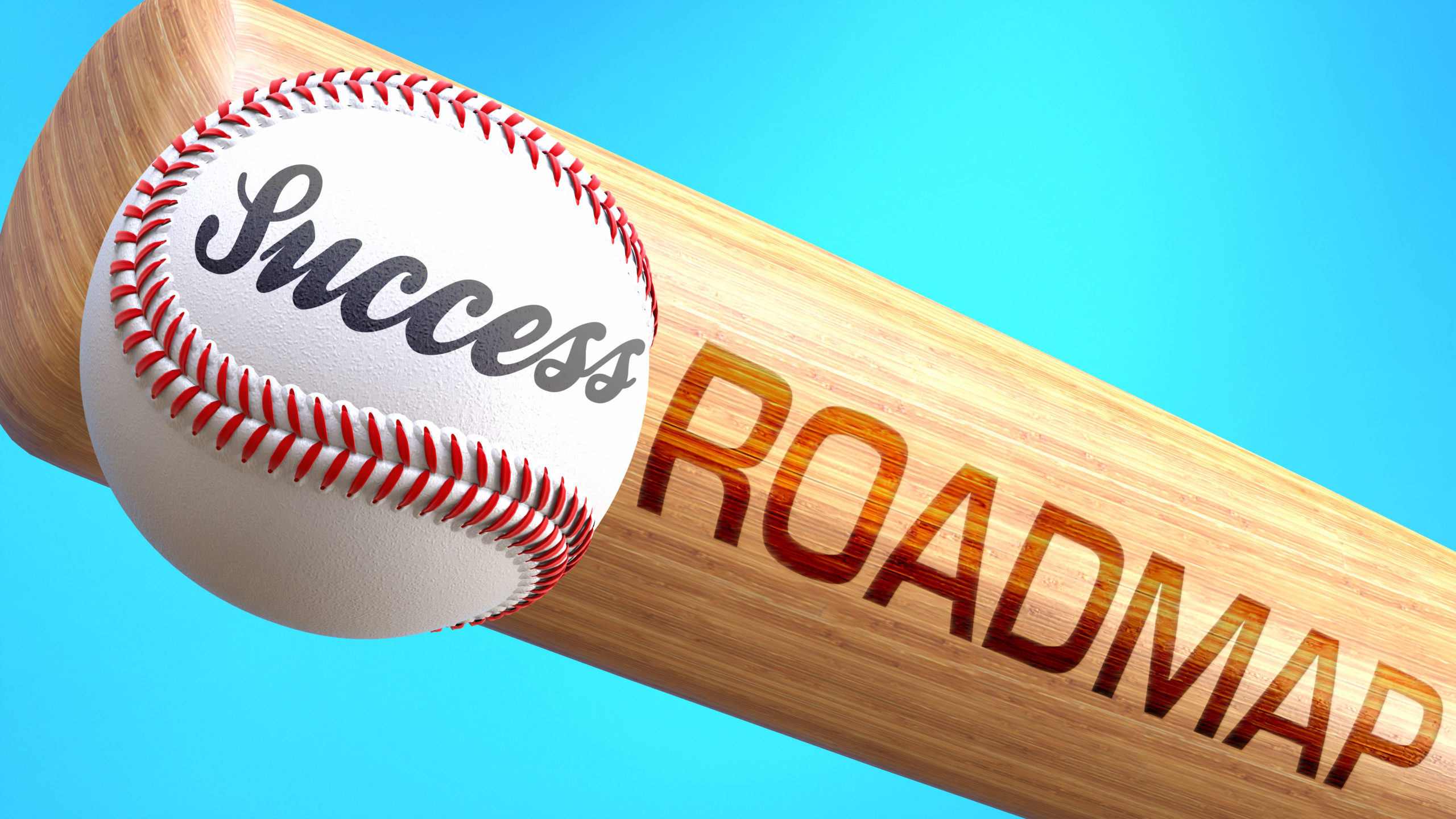 Success in life depends on roadmap - pictured as word roadmap on a bat, to show that roadmap is crucial for successful business or life., 3d illustration