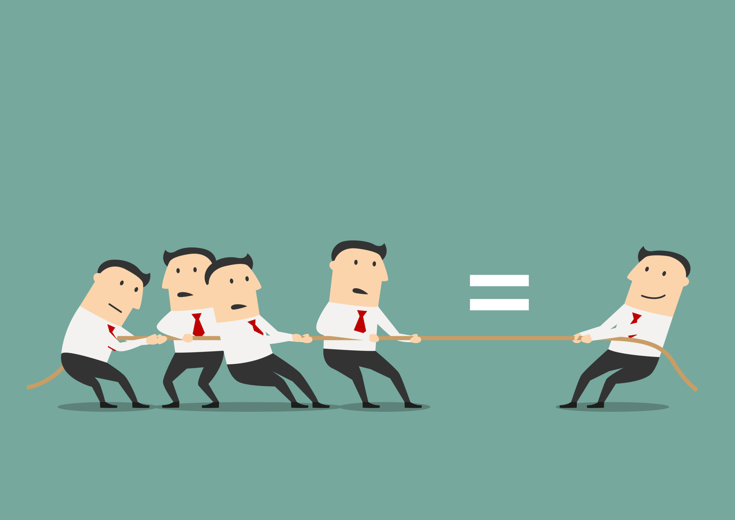 Businessman competing with group of businessmen